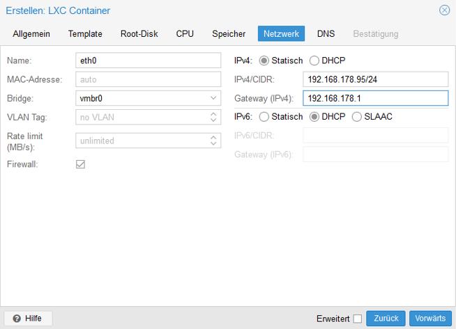Netzwerkkonfiguration für einen LXC unter Proxmox