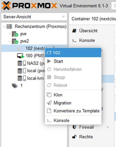 Nextcloud auf Proxmox installieren und LXC starten